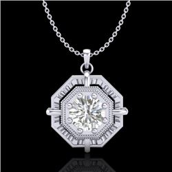 0.75 CTW VS/SI Diamond Solitaire Art Deco Stud Necklace 18K White Gold - REF-202K5W - 36878