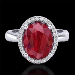 3 CTW Ruby And Micro Pave VS/SI Diamond Ring Halo 18K White Gold - REF-64A9X - 21112