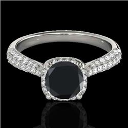 1.5 CTW Certified VS Black Diamond Solitaire Halo Ring 10K White Gold - REF-68Y2K - 33261