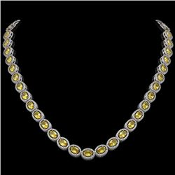 28.52 CTW Fancy Citrine & Diamond Halo Necklace 10K White Gold - REF-498N9Y - 40442