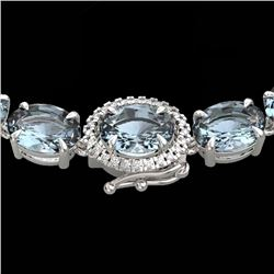36.25 CTW Aquamarine & VS/SI Diamond Eternity Tennis Micro Halo Necklace 14K White Gold - REF-321K8W