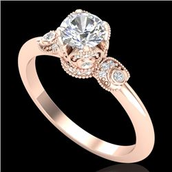 1 CTW VS/SI Diamond Solitaire Art Deco Ring 18K Rose Gold - REF-157X5T - 36852