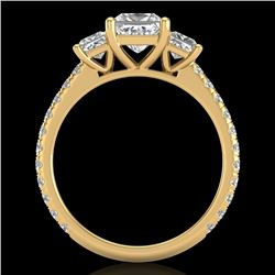 2.14 CTW Princess VS/SI Diamond Art Deco 3 Stone Ring 18K Yellow Gold - REF-454F5N - 37207
