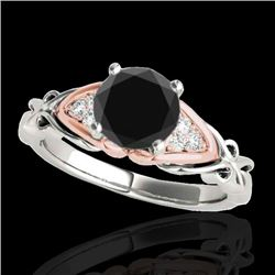 1.35 CTW Certified VS Black Diamond Solitaire Ring 10K White & Rose Gold - REF-54X9T - 35211