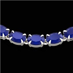 40 CTW Sapphire Eternity Tennis Necklace 14K White Gold - REF-218F2N - 23375