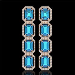 18.99 CTW Swiss Topaz & Diamond Halo Earrings 10K Rose Gold - REF-184A4X - 41604