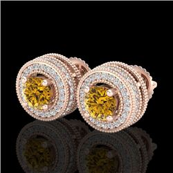 2.09 CTW Intense Fancy Yellow Diamond Art Deco Stud Earrings 18K Rose Gold - REF-218Y2K - 38016