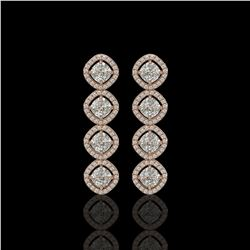 5.28 CTW Cushion Cut Diamond Designer Earrings 18K Rose Gold - REF-981W6F - 42810