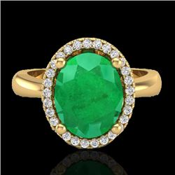 3 CTW Emerald & Micro Pave VS/SI Diamond Ring Halo 18K Yellow Gold - REF-64Y9K - 21104