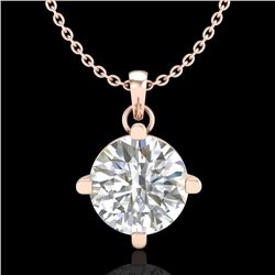 1 CTW VS/SI Diamond Solitaire Art Deco Stud Necklace 18K Rose Gold - REF-345F5N - 37233
