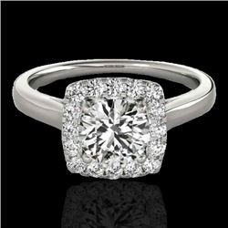 1.37 CTW H-SI/I Certified Diamond Solitaire Halo Ring 10K White Gold - REF-167W3F - 33409
