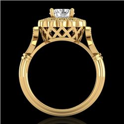 1.2 CTW VS/SI Diamond Solitaire Art Deco Ring 18K Yellow Gold - REF-345T2M - 37051