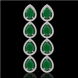 16.01 CTW Emerald & Diamond Halo Earrings 10K White Gold - REF-212K8W - 41282