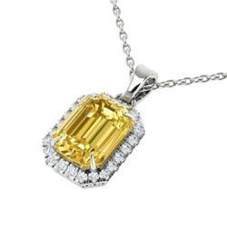 4.50 CTW Citrine & Micro Pave VS/SI Diamond Halo Necklace 18K White Gold - REF-50F9N - 21356