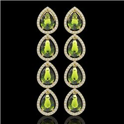 10.48 CTW Tourmaline & Diamond Halo Earrings 10K Yellow Gold - REF-195Y6K - 41305