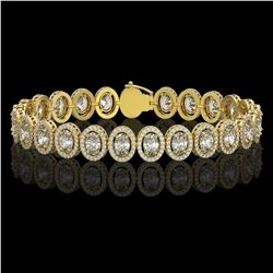 15.8 CTW Oval Diamond Designer Bracelet 18K Yellow Gold - REF-2838N8Y - 42763