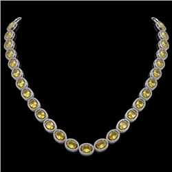 46.39 CTW Fancy Citrine & Diamond Halo Necklace 10K White Gold - REF-553K6W - 40595