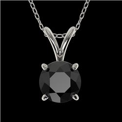 0.75 CTW Fancy Black VS Diamond Solitaire Necklace 10K White Gold - REF-22X5T - 33175