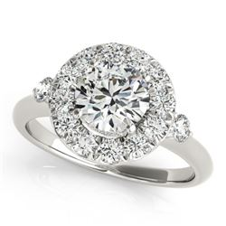 1.5 CTW Certified VS/SI Diamond Solitaire Halo Ring 18K White Gold - REF-404H4A - 26311