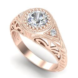 1.07 CTW VS/SI Diamond Solitaire Art Deco Ring 18K Rose Gold - REF-321M2H - 36885