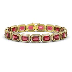 26.38 CTW Tourmaline & Diamond Halo Bracelet 10K Yellow Gold - REF-453M3H - 41398