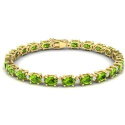 26.3 CTW Peridot & VS/SI Certified Diamond Bracelet Gold 10K Yellow Gold - REF-174W4F - 29458