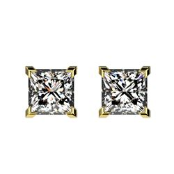 1 CTW Certified VS/SI Quality Princess Diamond Stud Earrings 10K Yellow Gold - REF-147A2X - 33065