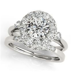 1.62 CTW Certified VS/SI Diamond 2Pc Wedding Set Solitaire Halo 14K White Gold - REF-400H4A - 30765