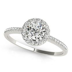 0.75 CTW Certified VS/SI Diamond Solitaire Halo Ring 18K White Gold - REF-110W5F - 26347