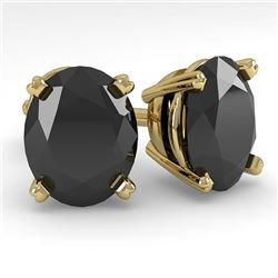 10 CTW Oval Black Diamond Stud Designer Earrings 14K Yellow Gold - REF-216A2X - 38399