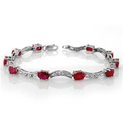 4.25 CTW Ruby & Diamond Bracelet 10K White Gold - REF-44T5M - 10183