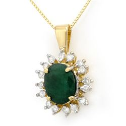 4.20 CTW Emerald & Diamond Pendant 10K Yellow Gold - REF-70M2H - 13605