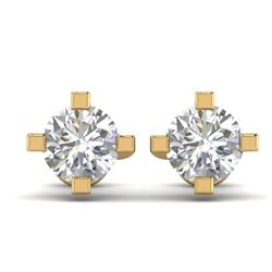1 CTW Certified VS/SI Diamond Solitaire Stud Earrings 14K Yellow Gold - REF-145H3A - 30401