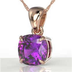 2 Cushion Cut CTW Amethyst Designer Solitaire Necklace 14K Rose Gold - REF-20F4N - 21928