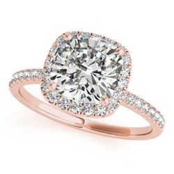 1.33 CTW Certified VS/SI Cushion Diamond Solitaire Halo Ring 18K Rose Gold - REF-440H2A - 27211