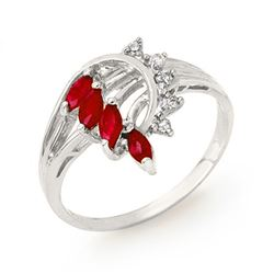 0.55 CTW Ruby & Diamond Ring 18K White Gold - REF-35N5Y - 12948
