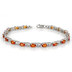 6.02 CTW Orange Sapphire & Diamond Bracelet 14K White Gold - REF-49T6M - 11305
