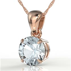 2 CTW Aquamarine Designer Inspired Solitaire Necklace 14K Rose Gold - REF-32F8N - 22011