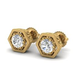 1.07 CTW VS/SI Diamond Solitaire Art Deco Stud Earrings 18K Yellow Gold - REF-190T9M - 36901