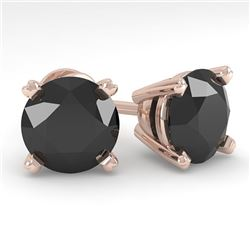 4.0 CTW Black Diamond Stud Designer Earrings 18K Rose Gold - REF-120A2X - 32324