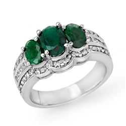 3.50 CTW Emerald & Diamond Ring 18K White Gold - REF-135N6Y - 14281