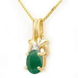 1.02 CTW Emerald & Diamond Pendant 10K Yellow Gold - REF-9T3M - 14199