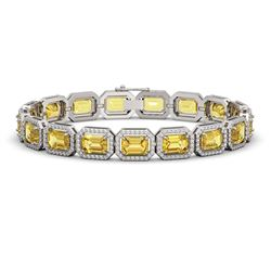 23.74 CTW Fancy Citrine & Diamond Halo Bracelet 10K White Gold - REF-303A8X - 41420