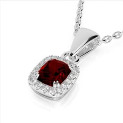 1.25 CTW Garnet & Micro Pave VS/SI Diamond Halo Necklace 10K White Gold - REF-27Y3K - 22883