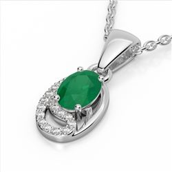 1.25 CTW Emerald & Micro Pave VS/SI Diamond Necklace 10K White Gold - REF-18W9F - 22349