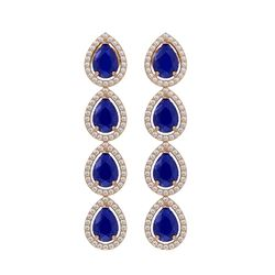 10.2 CTW Sapphire & Diamond Halo Earrings 10K Rose Gold - REF-155N5Y - 41145