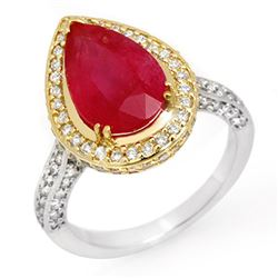 6.25 CTW Ruby & Diamond Ring 14K 2-Tone Gold - REF-158T2M - 10692