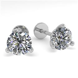 0.52 CTW Certified VS/SI Diamond Stud Earrings Martini 14K White Gold - REF-44T4M - 30565