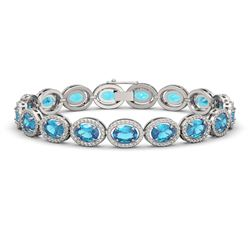 24.32 CTW Swiss Topaz & Diamond Halo Bracelet 10K White Gold - REF-252M8H - 40634