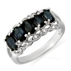 2.0 CTW Blue Sapphire & Diamond Ring 18K White Gold - REF-46K4W - 12423